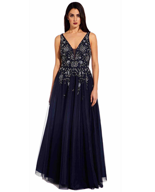 Adriana Papell AP1E205357 Beaded Tank Ballgown navy blue ballgown with beaded bodice