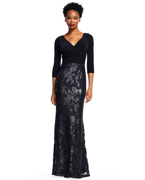 Adrianna Papell AP1E200242 Sequin A Line Dress black 3/4 sleeve dress with long sequin skirt