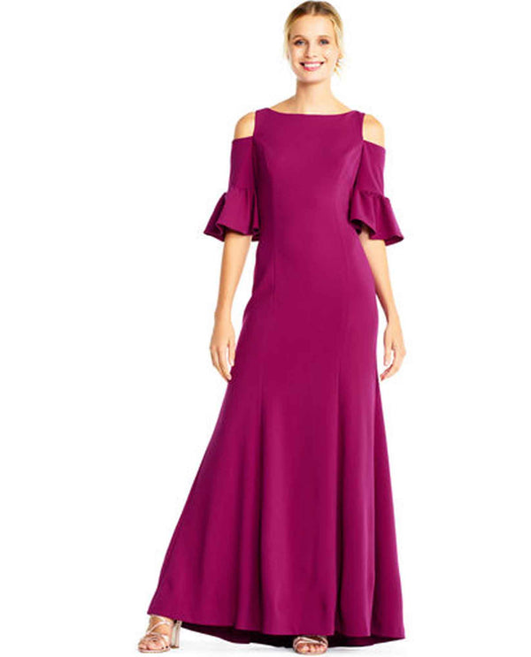 Adrianna Papell AP1E201829 Cold Shoulder Crepe Dress berry pink cold shoulder long dresss
