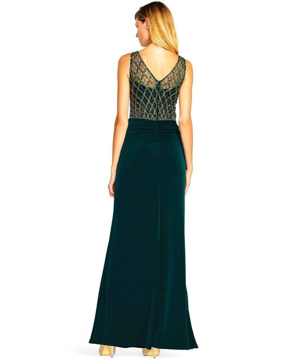 Adrianna Papell AP1E202025 Sleeveless Beaded Gown hunter green sleeveless gown with beads