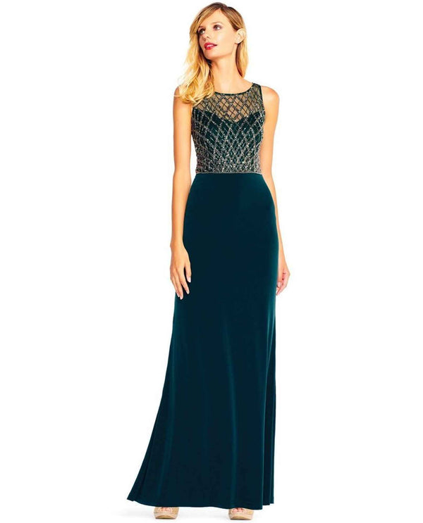 Adrianna Papell AP1E202025 Sleeveless Beaded Gown hunter green sleeveless gown with beaded overlay