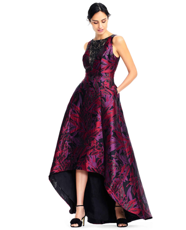 Adrianna Papell AP1E202360 Floral Jacquard Dress wine floral print 3/4 sleeve gown