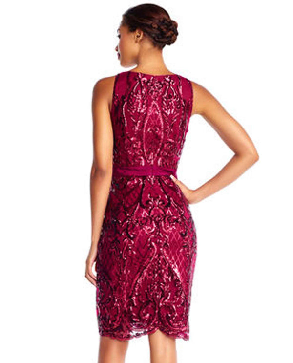 Adrianna Papell AP1E202468 Sleeveless Sequin Dress cranberry red sleeveless dress with sequins