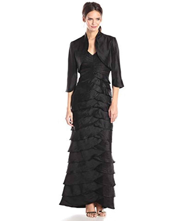 Adrianna Pappell 081895550 Shoulder Dress With Jacket black ruffle dress with jacket