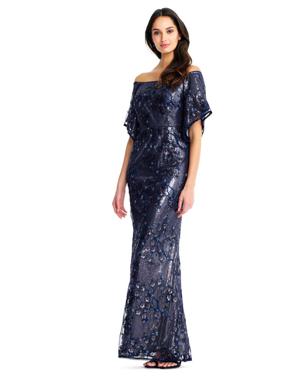 Aidan Mattox MD1E203759 Off Shoulder Sequin Gown Twig navy blue off the shoulder gown