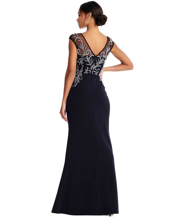 Aidan Mattox MD1E203928 V-Neck Gown with Pearls black cap sleeve gown with pearls