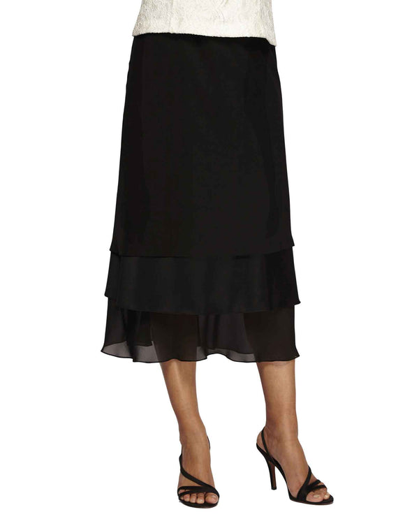 Alex Evenings 27017 Tiered Chiffon Skirt tea length three-tiered black chiffon skirt