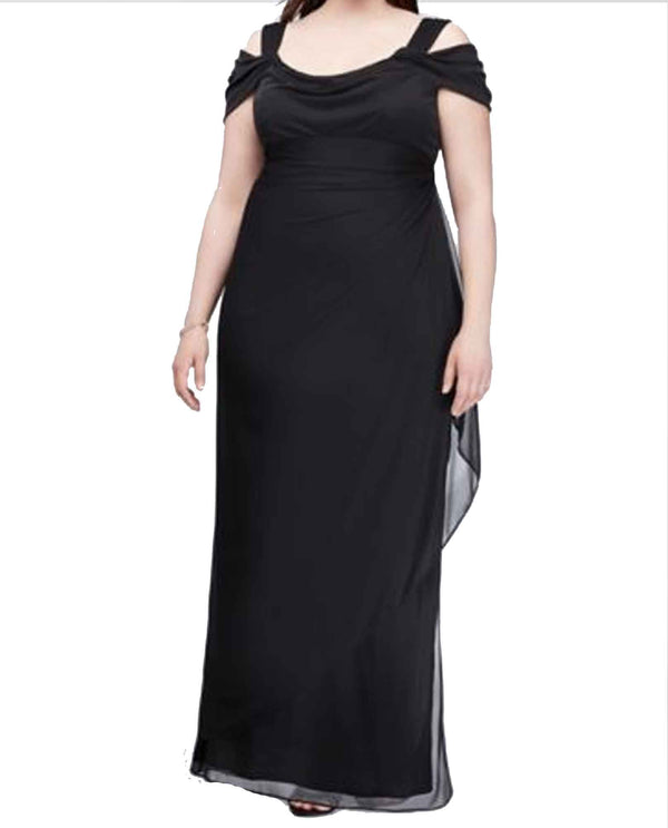Black Alex Evenings 432156 Womens Cold Shoulder Dress plus size mother of the bride dress