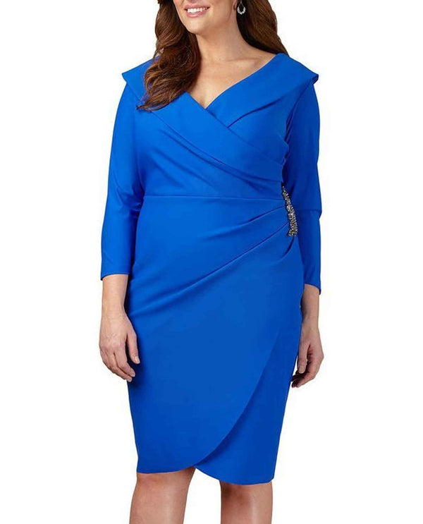 Alex Evenings 434168 Womens Dress With Surplice royal blue plus size long sleeve formal dress