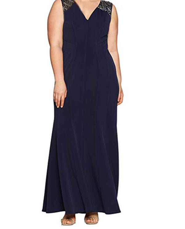 Deep navy Alex Evenings 4351345 Womens Scuba Tank Dress plus size mother of the bride dress