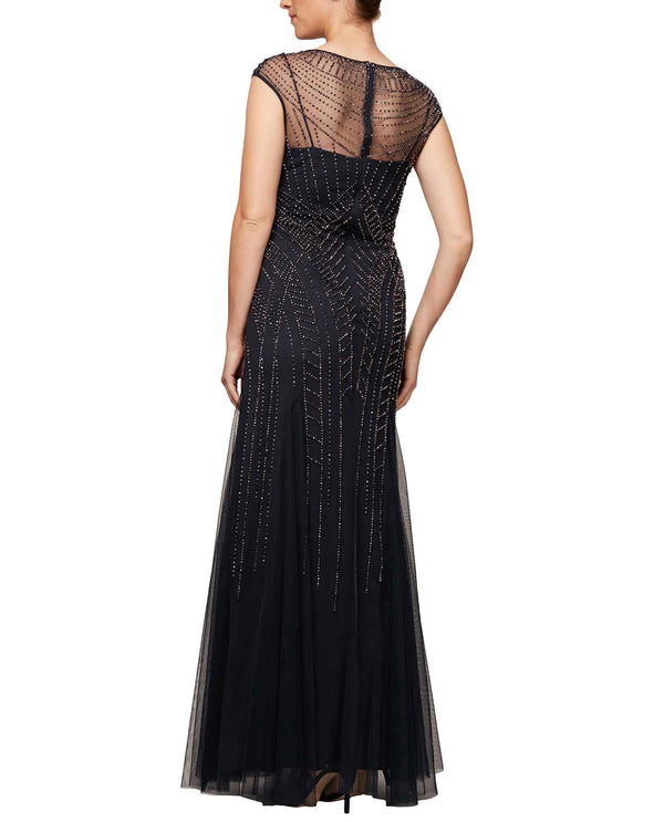Smoke Alex Evenings 8116064 V-Neck with Beads Gown mother of the bride gown with beading