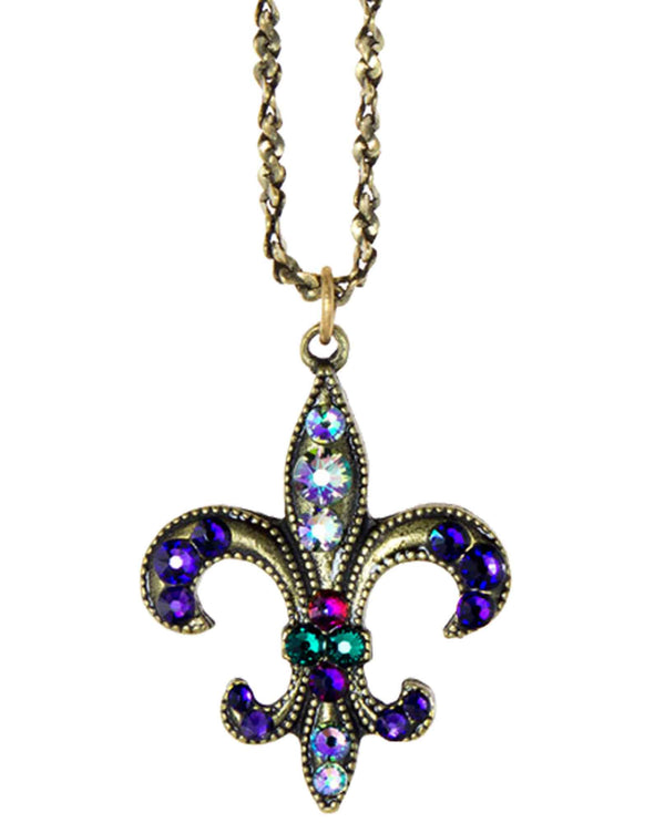 Anne Koplik NKG113PUR Stoned Fleur De Lis Necklace with multi colored Swarovski crystals