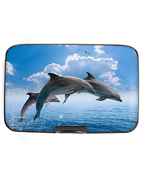 Armored Wallet 71852 Dolphins Wallet aluminum wallet with RFID protection holding 12 cards