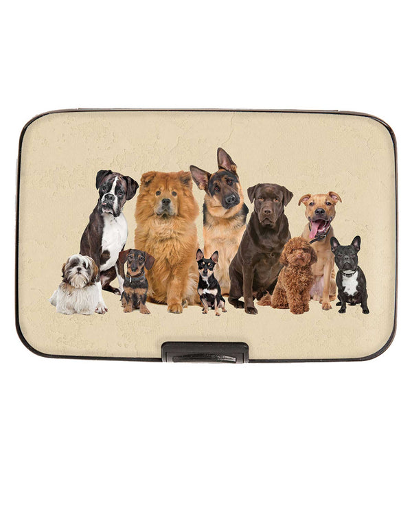 Armored Wallet 71895 Dog Breeds Wallet aluminum wallet with all kinds of dogs printed