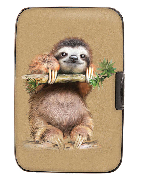 Armored Wallet 71898 Sloth Wallet RFID aluminum wallet with an adorable sloth printed