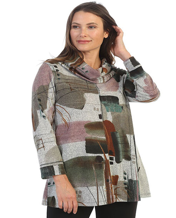 Cowl Neck Tunic Emerald Print