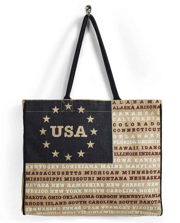 Mona B B-510 Usa Burlap Tote with an American flag design on the front and plastic liner