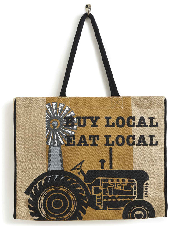 Mona B B-520 Farm Fresh Burlap Tote that says buy local eat local with a tractor