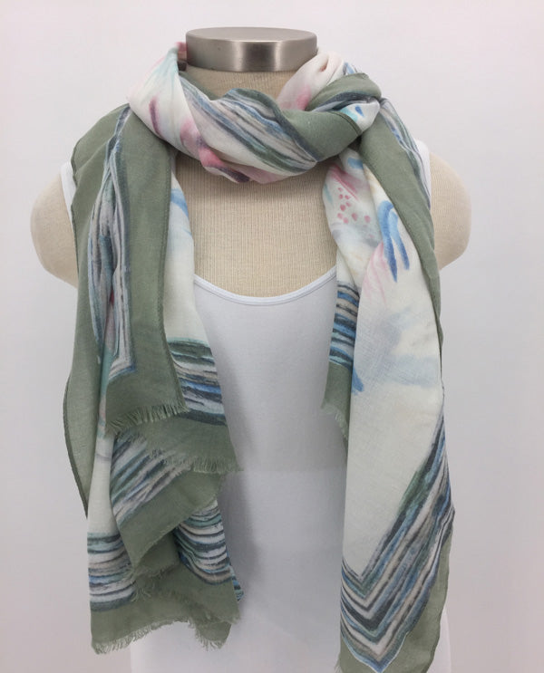 Green Cashmere Border Scarf