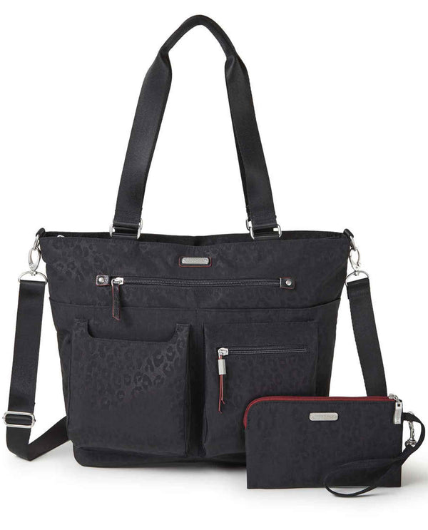 Baggallini adt336 any day tote with wristlet black cheetah nylon tote with matching wristlet