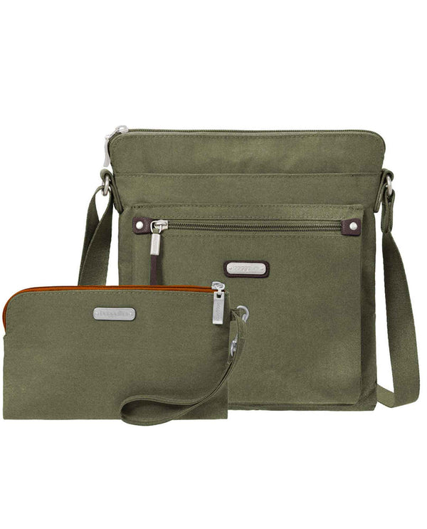 Baggallini GOB282 Go Bagg With Wristlet olive green nylon crossbody bag with RFID technology