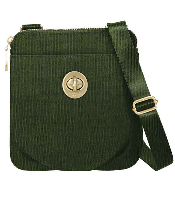 Baggallini HCM170 Mini Hanover juniper green slim nylon crossbody purse