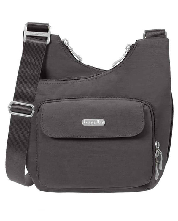 Baggallini MCC570 Criss Cross Bag charcoal grey nylon crossbody bag with zippered compartments
