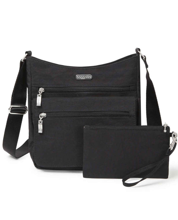 Baggallini TZF327 Top Zip Flap Crossbody With Wristlet black nylon adjustable crossbody bag