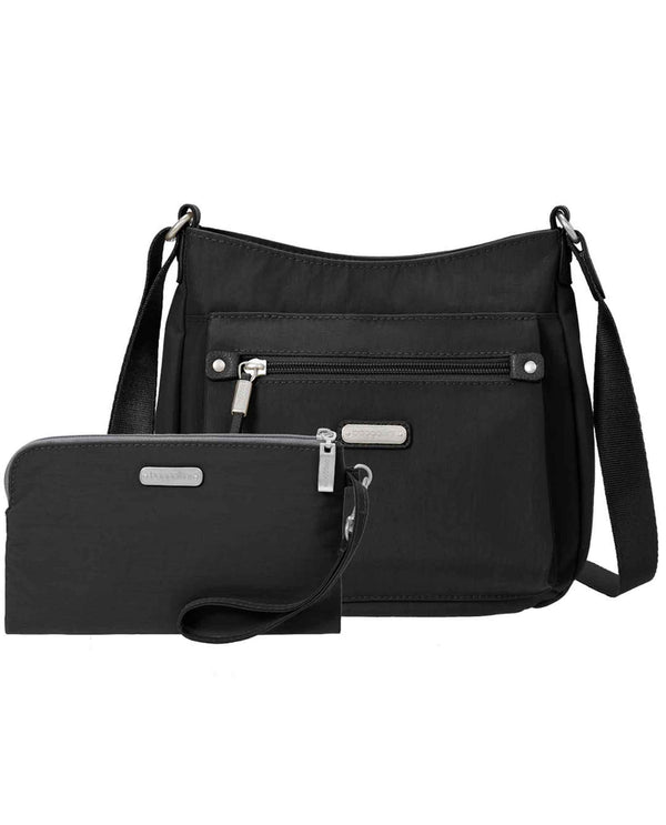 Baggallini UPB287 Uptown Bagg Crossbody With Wristlet black nylon crossbody bag with wristlet