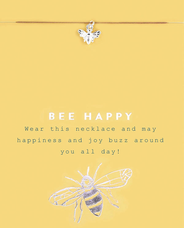 Be Happy Bee Necklace Silver