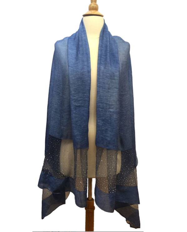 Beaded Panel Scarf Denim