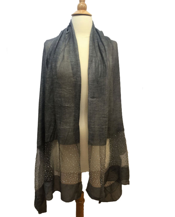 Beaded Panel Scarf Dark Grey