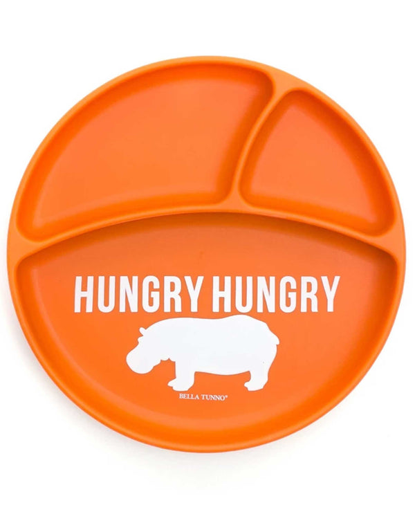 Bella Tunno WP13 Hungry Hippo Wonder Plate orange silicone toddler plate with three sections