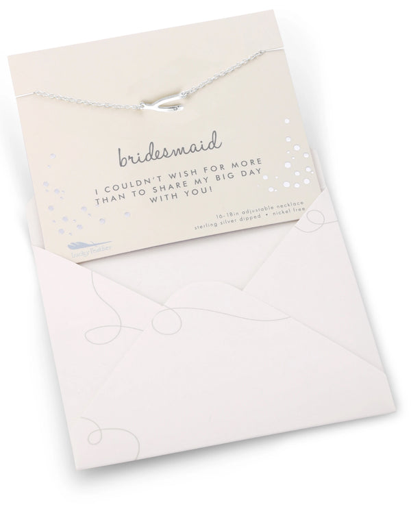 Bridesmaid Necklace Card Silver
