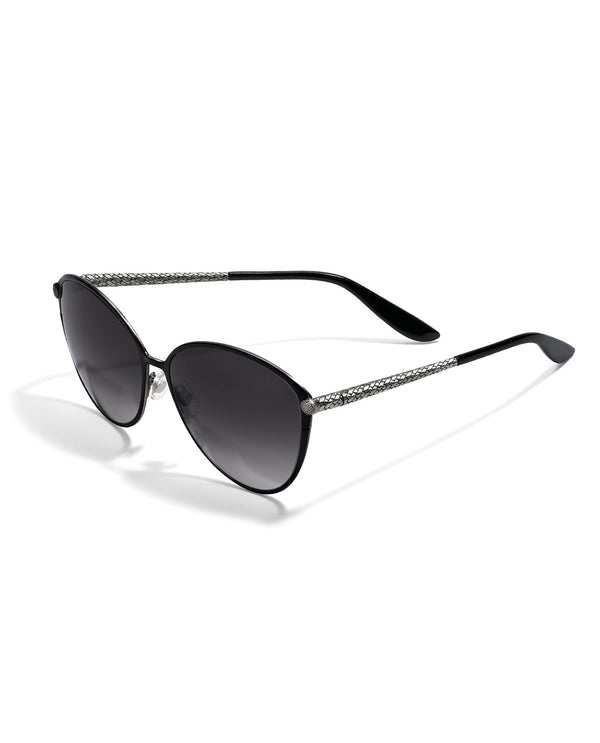Brighton A12903 Ferrara Gatta Sunglasses sleek black sunglasses for women on model