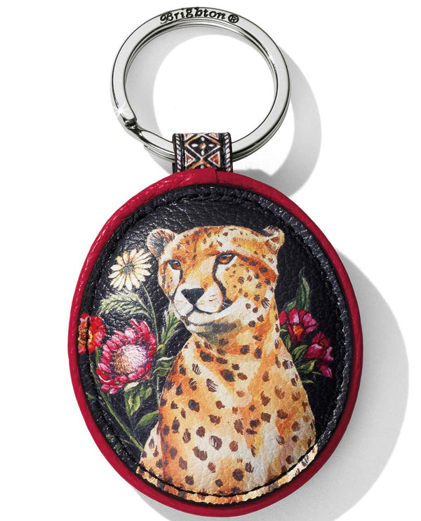 Multi Brighton E1781M Africa Stories Duma Key Fob leather key fob with hand painted cheetah