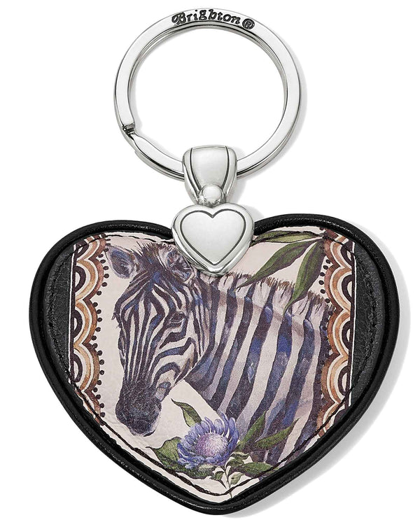 Brighton E1782M Africa Stories Zebra Heart Key Fob with hand painted zebra in a leather heart
