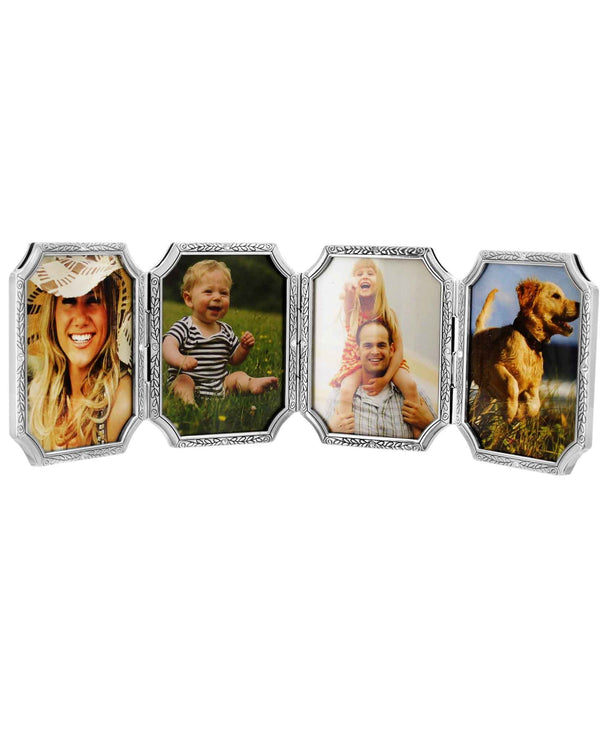 Brighton G10640 Tapestry Four-Picture Frame silver four slot photo frame that holds 2x3 photos