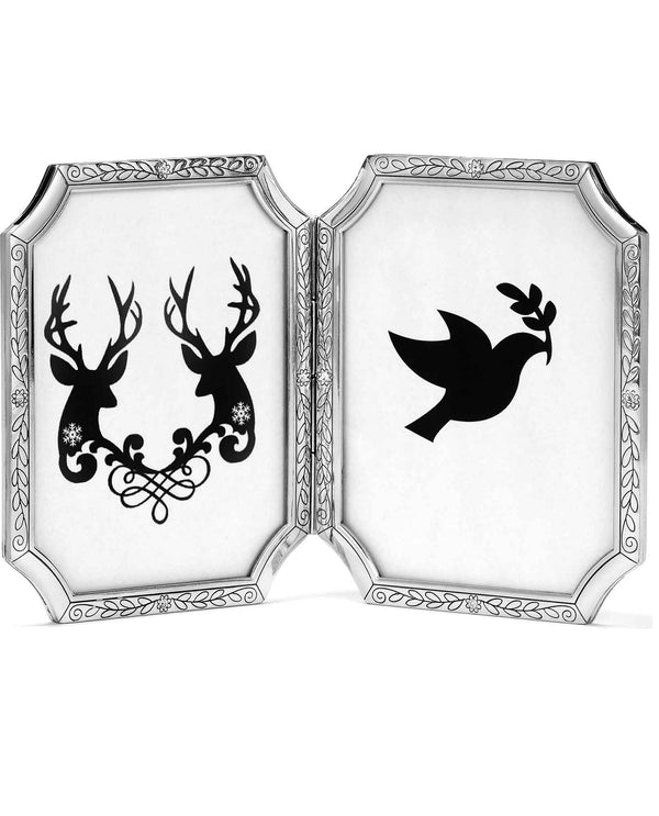 Brighton G10650 Tapestry Double Frame 4x5 silver double frame with swirls