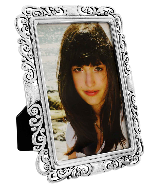 Brighton G10710 Madrid Lace Large Frame silver 4x6 frame that can be flipped