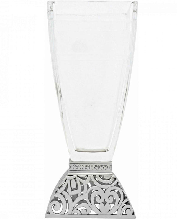 Brighton G60160 Lacie Glass Vase wide glass vase with etched silver base