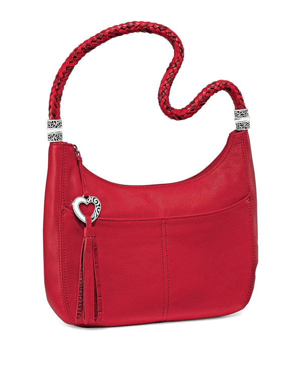 Lipstick Brighton H204AL Barbados Ziptop Hobo red leather hobo bag with braided strap