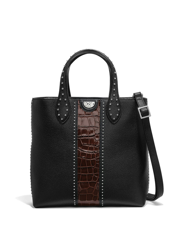 Brighton H36699 Johnny Tall Convertible Tote Black and Chocolate
