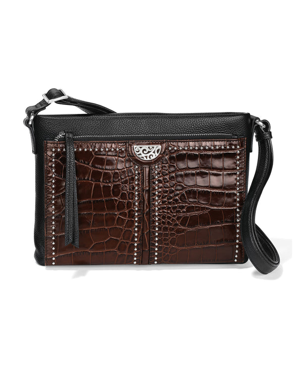 Brighton H42419 Jagger Cross Body Organizer Black and Chocolate