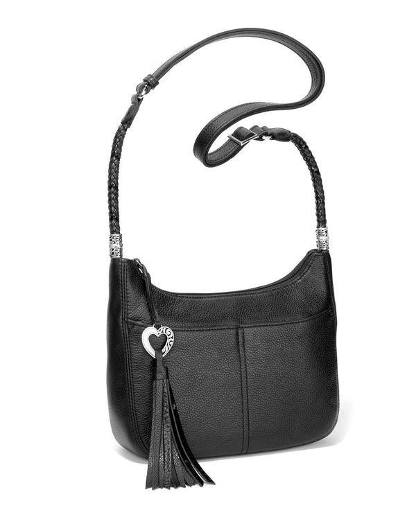Black Leather Brighton H4292A Baby Barbados Cross Body Hobo