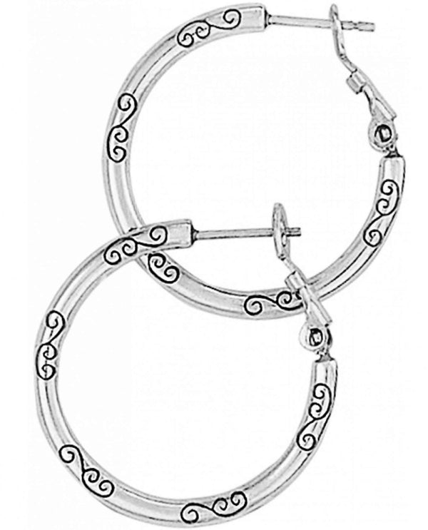 Brighton J19520 ABC Small Earring Charm Hoop silver hoop earrings with leverback