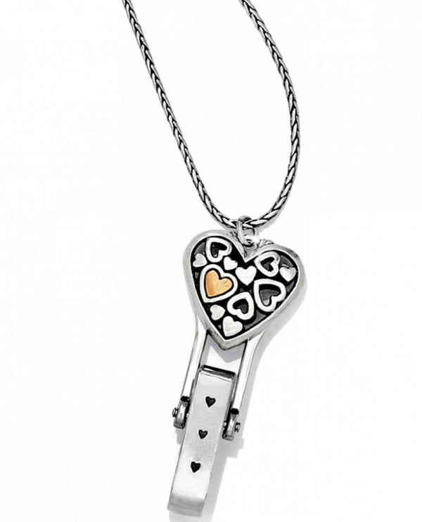 Brighton J45951 Floating Heart Badge Clip silver heart badge clip ID holder