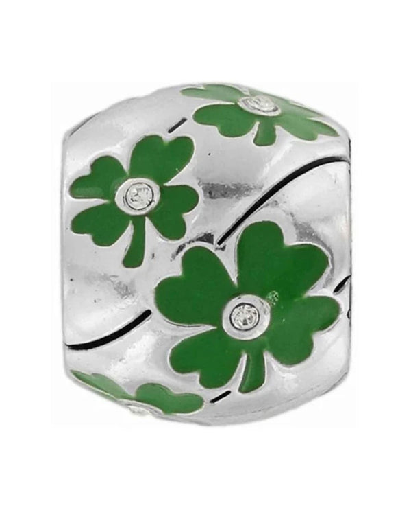 Brighton J97562 Lucky Day Bead silver bead with four-leaf clovers and Swarovski