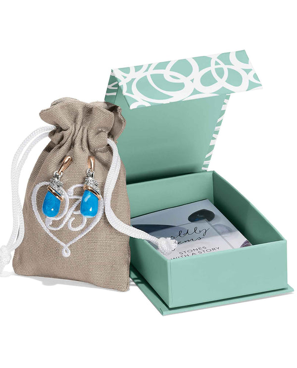 Brighton JA497J Neptune's Rings Turquoise Teardrop Earrings in a gift box