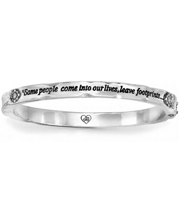 Brighton JB0962 Footprints Hinged Bangle silver bangle with the footprints quote